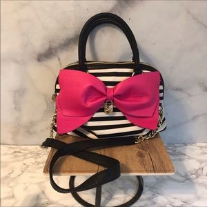 🆕 Betsey Johnson Pink Bow Satchel Shoulder Bag